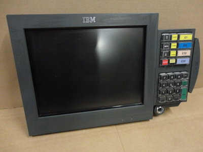 IBM 4820-21G LCD Touch Screen Monitor 12 Inch Display - KEYPAD + MSR Module